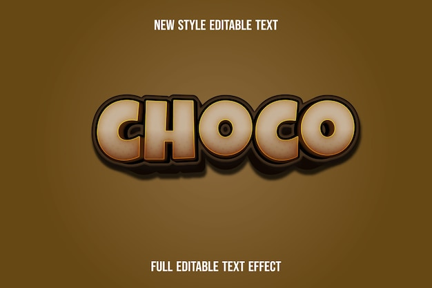Text effect 3d choco color brown gradient