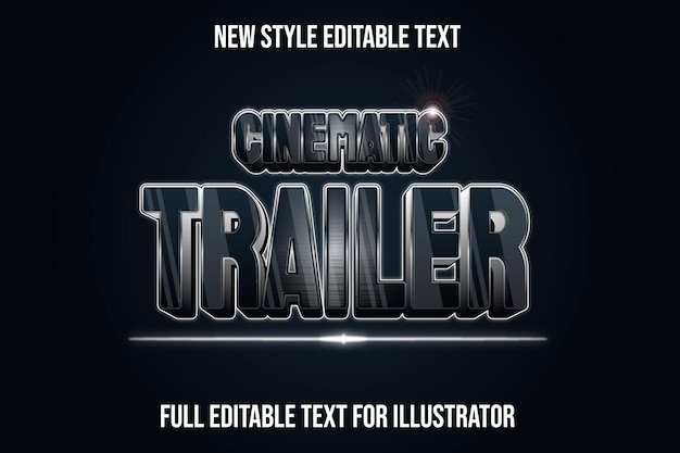 Text effect 3d cinematic trailer in black and silver gradient