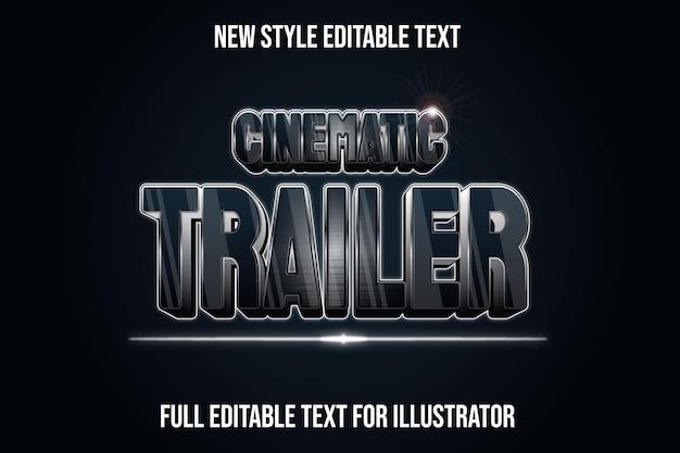 Текстовый эффект 3d-кинематографический трейлер в черно-серебряном градиенте