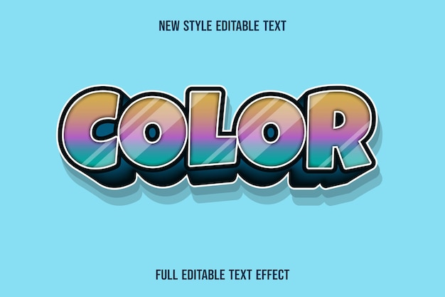 Text effect 3d color ,color orange pink and green gradient