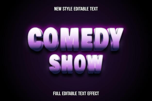 텍스트 효과 3d 코미디 쇼 색상 흰색과 분홍색