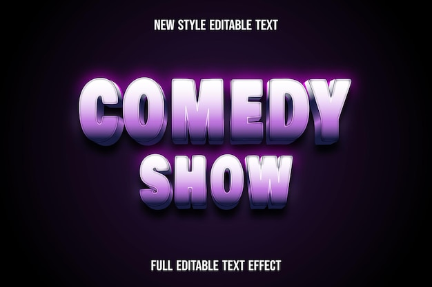 Text effect 3d comedy show color white and pink