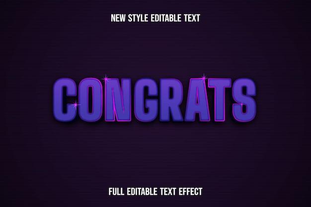 Текстовый эффект 3d поздравляю, цвет розовый и фиолетовый