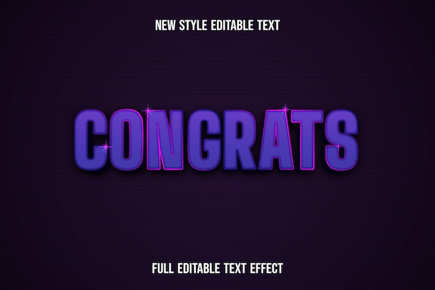 Text effect 3d congrats color pink and purple