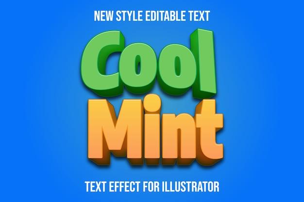 Текстовый эффект 3d прохладный мятный цвет зеленый и светло-оранжевый градиент