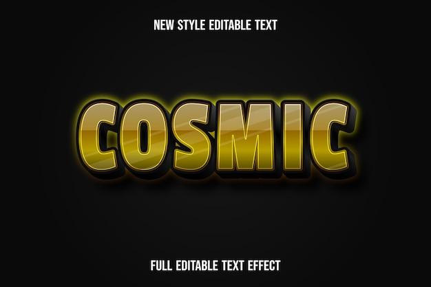텍스트 효과 3d 우주 색상 노란색과 검정색