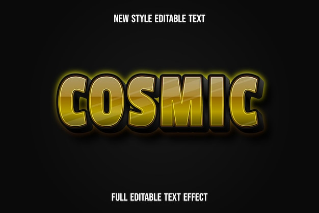 Text effect 3d cosmic color yellow and black