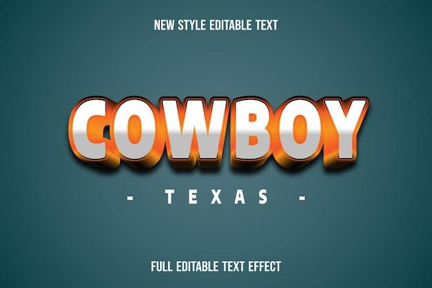 Text effect 3d cowboy texas color white and orange