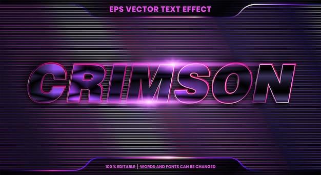 Text effect in 3d crimson words font styles theme editable metal gradient purple color concept