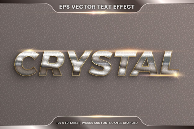Text effect in 3d crystal words, font styles theme editable realistic metal chrome and gold color combination with flare light concept
