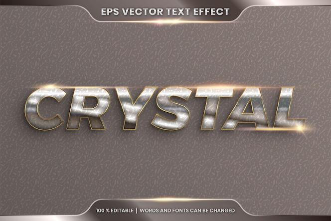 Effetto di testo in parole di cristallo 3d, tema stili di carattere modificabile in metallo cromato realistico e combinazione di colori oro con concetto di luce bagliore
