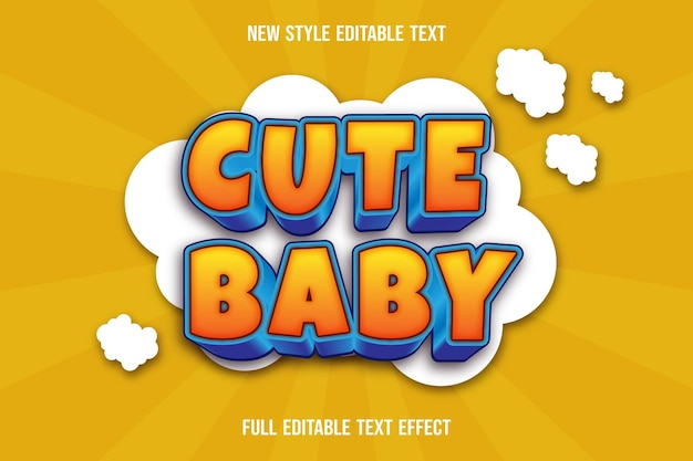 Text effect 3d cute baby color yellow and blue Premium Vector