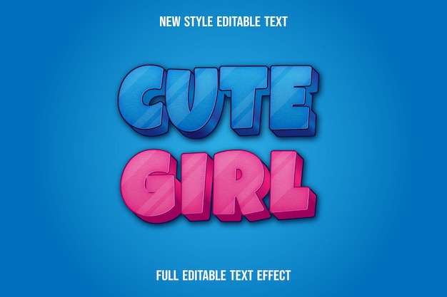 Text effect 3d cute girl color blue and pink