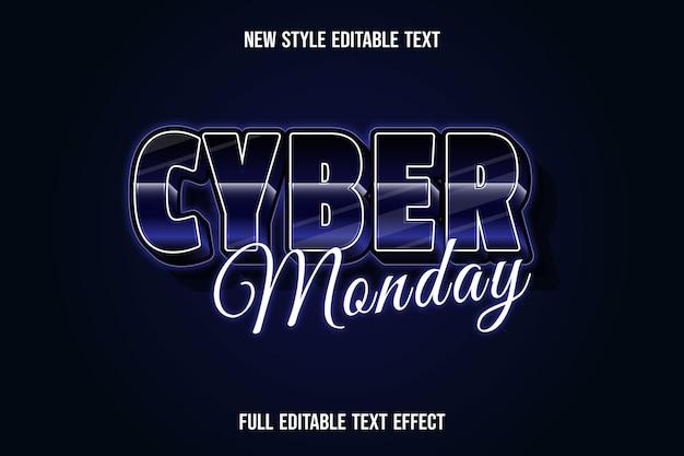 텍스트 효과 3d 사이버 월요일 색상 진한 파란색과 검정색