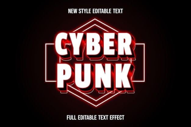 Text effect 3d cyberpunk color white and red