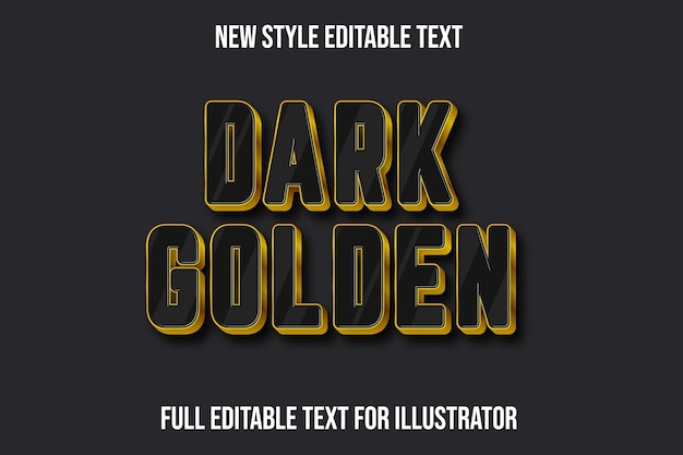 Text effect 3d dark golden color black and gold gradient