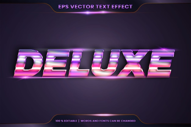 Text effect in 3d deluxe words, font styles theme editable realistic metal gradient pink and purple color combination with flare light concept