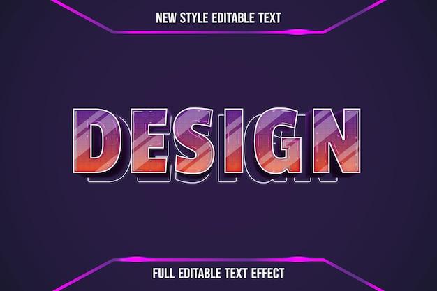 Text effect 3d design color orange and purple