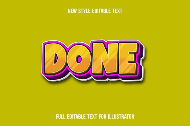 Text effect 3d done color yellow and pink gradient