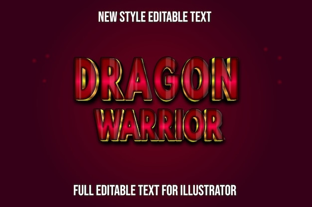 Text effect 3d dragon warrior color red and gold gradient