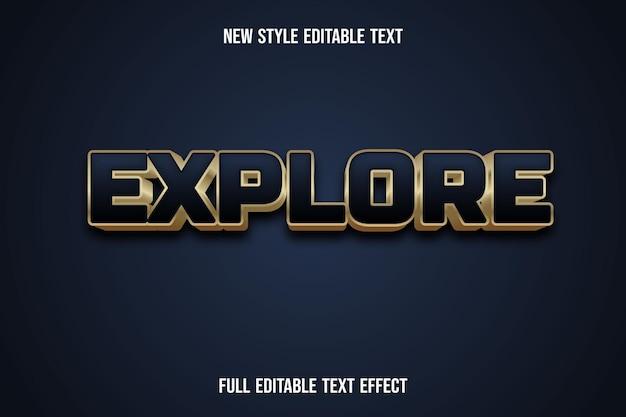 Text effect 3d explore color blue and gold gradient