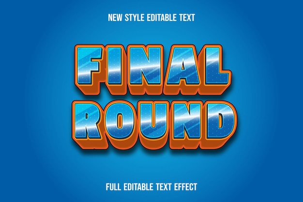 Text effect 3d final round color blue and orange