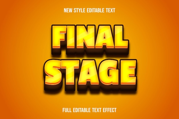 Text effect 3d final stage color yellow and brown gradient