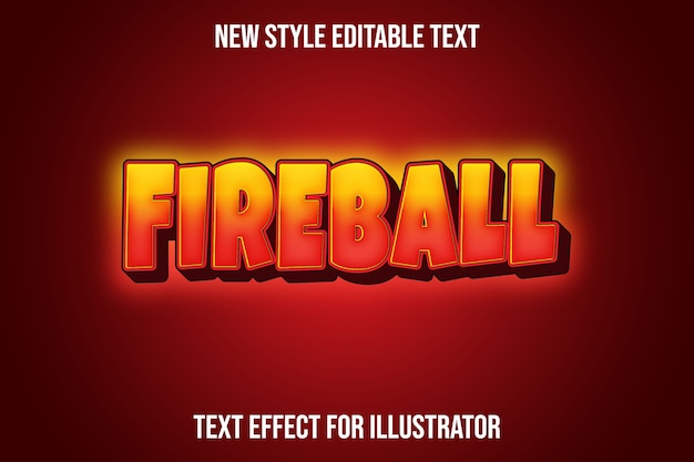 Text effect 3d fire ball color red and orange gradient