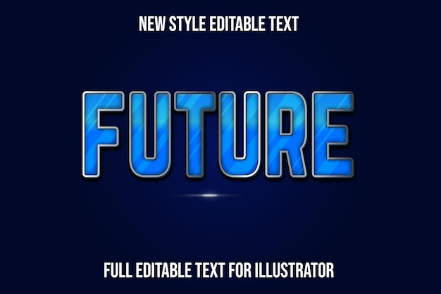 Текстовый эффект 3d будущего цвета синий и серебристый градиент