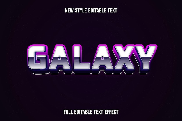 Text effect 3d galaxy color white and purple