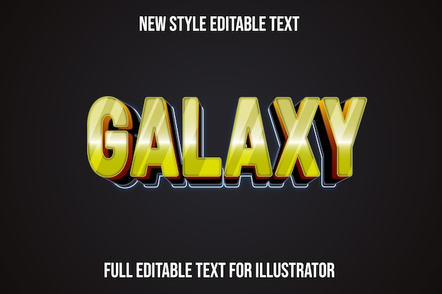 Text effect 3d galaxy color yellow and black gradient