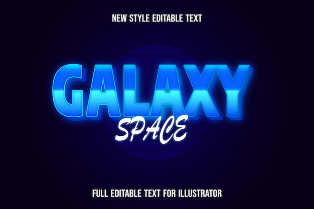 Text effect 3d galaxy space color blue and white gradient
