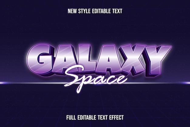 Text effect 3d galaxy space color white and purple gradient