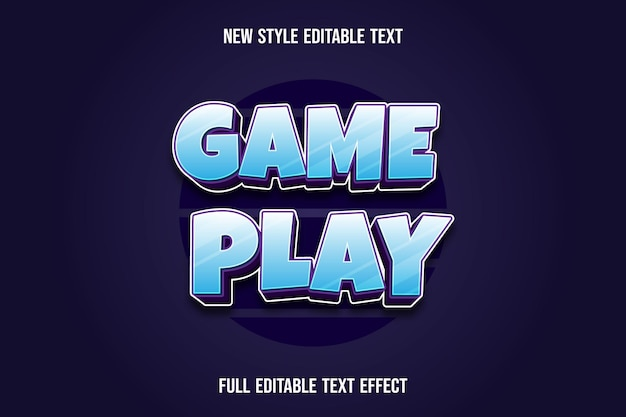 Text effect 3d game play color blue and purple gradient