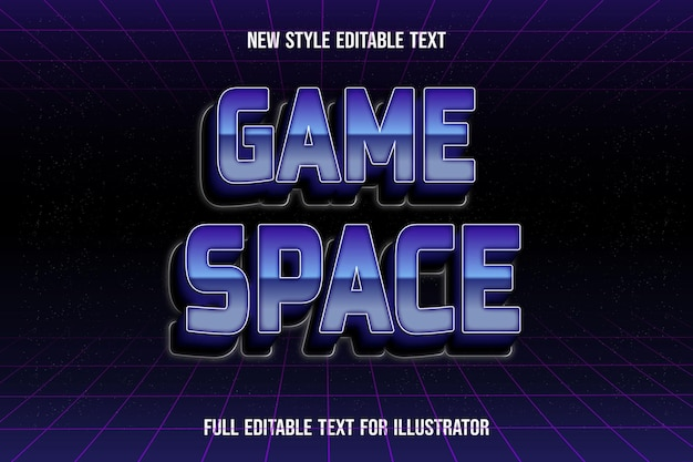 Text effect 3d game space color blue and black gradient