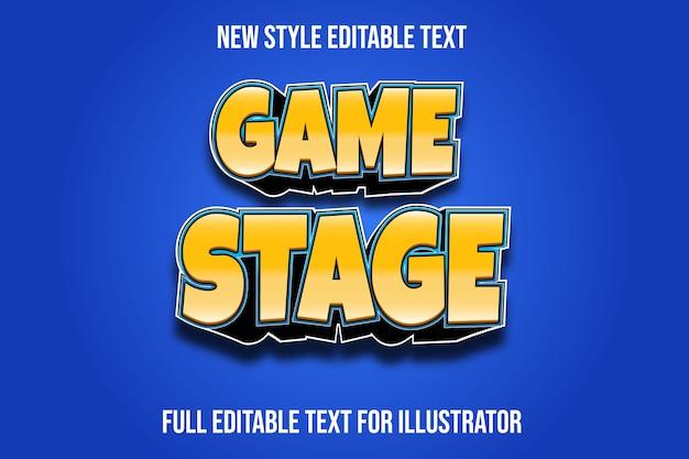 텍스트 효과 3d 게임 무대 색상 노란색과 검정색 그라디언트