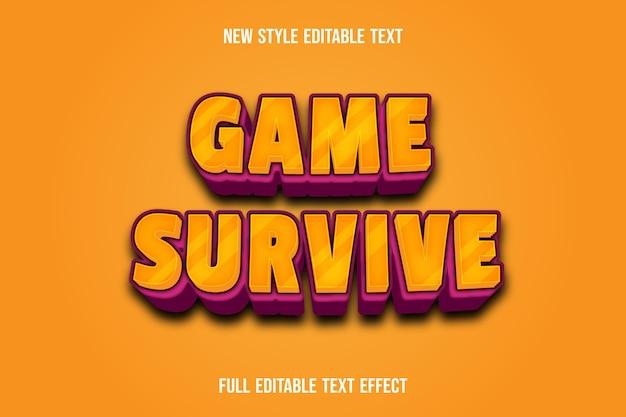 Текстовый эффект 3d-игра выживает цвет желтый и розовый градиент