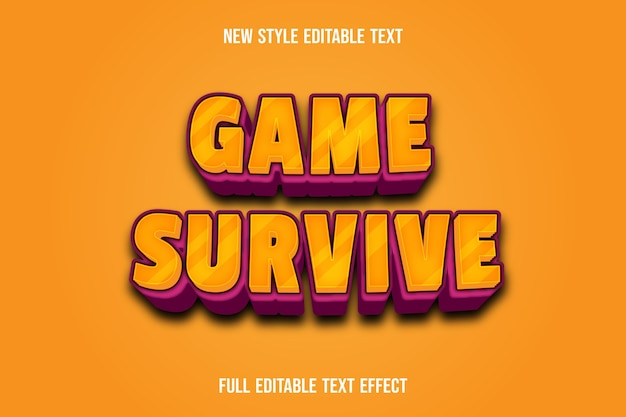 Text effect 3d game survive color yellow and pink gradient