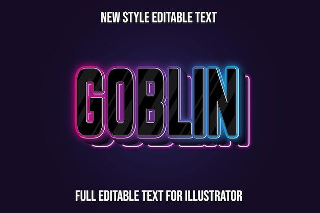 Text effect 3d goblin color black and pink,blue gradient
