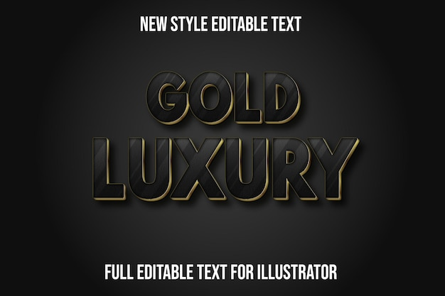 Text effect 3d gold luxury color black and gold gradient