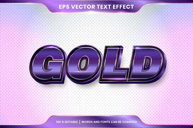 Text effect in 3d gold words font styles theme editable metal purple color concept