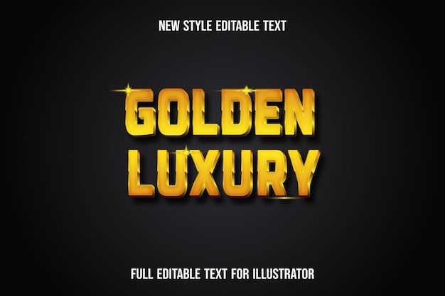 Text effect 3d golden luxury color yellow and brown gradient