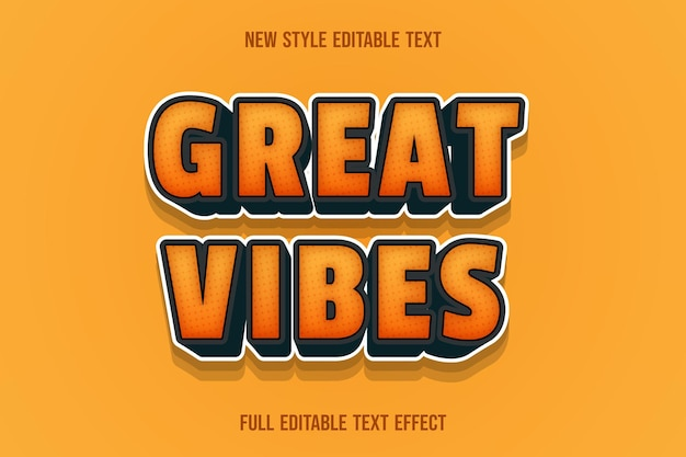 Text effect 3d great vibes color orange and black