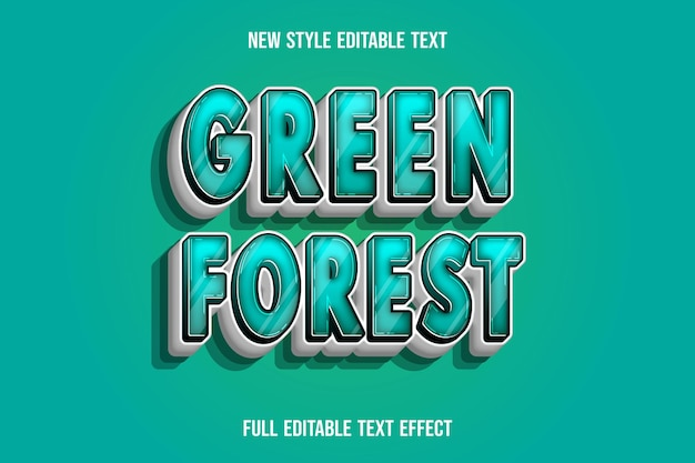 Text effect 3d green forest color green and white gradient