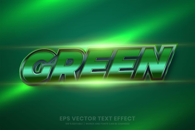 Text effect in 3d green metallic words, font styles editable metal gradient