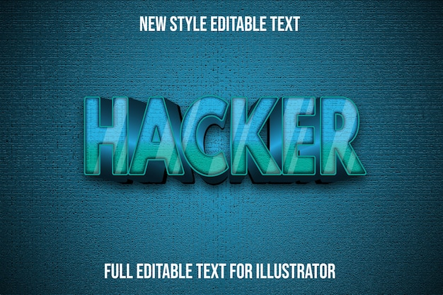 Text effect 3d hacker color green and black gradient