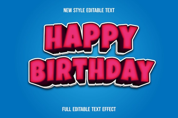 Text effect 3d happy birthday color pink and white gradient