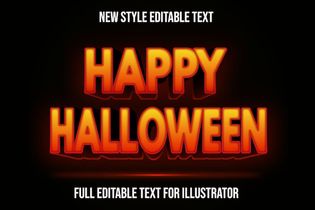 Text effect 3d happy halloween color orange and black gradient