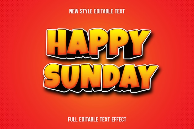Text effect 3d happy sunday color yellow and black gradient Premium Vector
