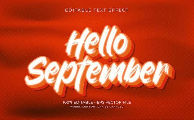テキスト効果3dこんにちは9月の概念プレミアムベクトル